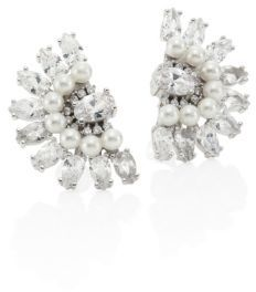 Fallon Monarch Victoriana Crystal & Faux-Pearl Fan Stud Earrings