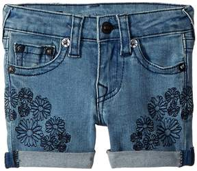 True Religion Bobby Embroidered in Daisy Blue Girl's Shorts