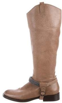 Brunello Cucinelli Leather Round-Toe Boots