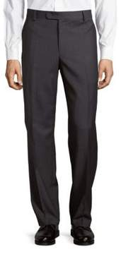 Saks Fifth Avenue BLACK Wool Sharkskin Flat-Front Pants