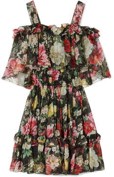 Dolce & Gabbana Cold-shoulder Floral-print Silk-chiffon Mini Dress - Black