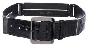 Oscar de la Renta Alligator Buckle Belt