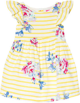 Joules Yellow Stripe and Floral Print Dress