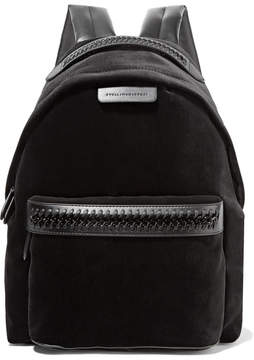 Stella McCartney - Falabella Go Faux Leather-trimmed Velvet Backpack - Black