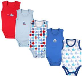 Luvable Friends Blue Sleeveless Bodysuit Set - Newborn & Infant