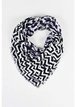 Kenzo Pre-owned Purple Black White Wool Chevron Stripe Fringe Shawl Scarf.