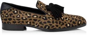 Jimmy Choo FOXLEY Hazelnut Leopard Print Pony Tasselled Slippers
