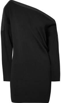 Alexander Wang Off-the-shoulder Ribbed Merino Wool-blend Mini Dress - Black