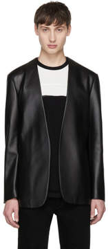 Maison Margiela Black Leather Deconstructed Blazer