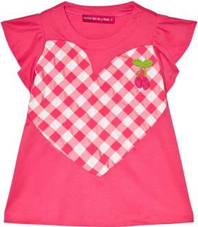 Agatha Ruiz De La Prada Pink And White Gingham Heart Pattern Dress