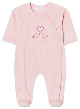 Absorba Pink Bird Embroidered Velour Babygrow