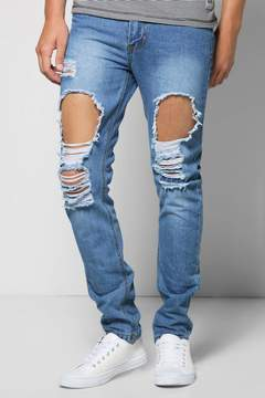 boohoo Slim Fit Vintage Wash Ripped Jeans