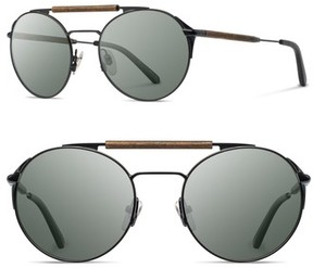 Shwood Men's Bandon 52Mm Round Sunglasses - Black/ Walnut/ G15
