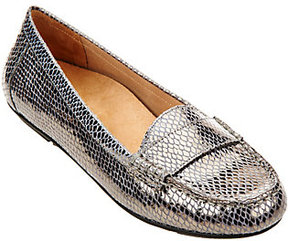 Vionic As Is Orthotic Suede Snake Print Moccasins - Larrun