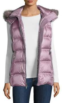 Andrew Marc Claire Fox Fur-Trimmed Puffer Vest