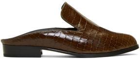 Robert Clergerie Brown Croc-Embossed Alice Slip-On Loafers