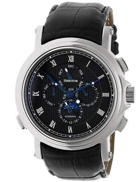 Heritor Kingsley Black Engraved Pattern Moonphase Dial Black Leather Strap Automatic Men's Watch