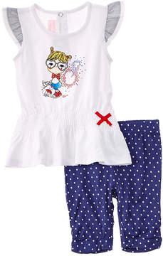 Chicco Girls' 2Pc White & Blue Dress & Legging Set