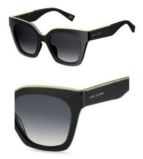 Marc Jacobs Women's Marc162s Square Sunglasses, Black/Dark Gray Gradient, 52 mm