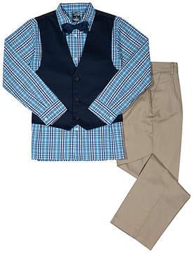 Izod Blue Plaid Three-Piece Vest Set - Toddler & Boys