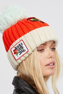 Free People Happy Place Patched Pom Beanie