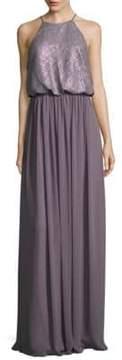Donna Morgan Hannah Sequin Cutaway Halter Gown