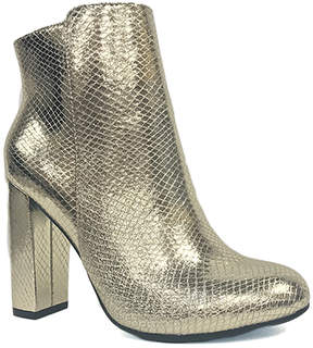 Bamboo Gold Snake-Embossed Living Bootie - Women