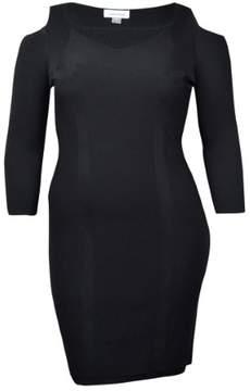 Calvin Klein Women's Cold Shoulder Sheath Sweater Dress (L, Black)