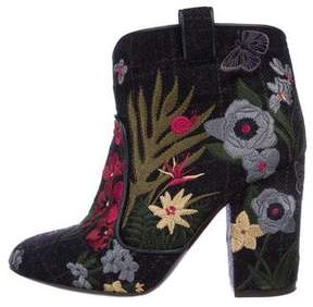 Laurence Dacade Embroidered Round-Toe Ankle Boots