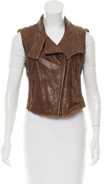 Donna Karan Leather Moto Vest