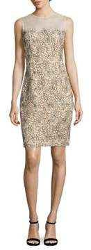 Carmen Marc Valvo Illusion Lace Sheath Dress