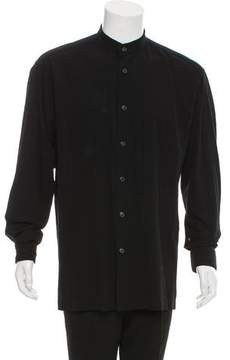 Issey Miyake Mandarin Collar Button-Up Shirt