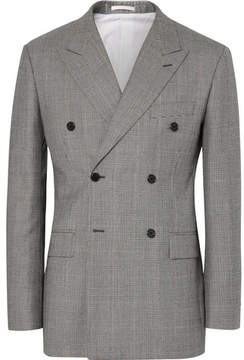 Calvin Klein Black Slim-Fit Prince Of Wales Checked Wool Double-Breasted Blazer