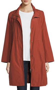 Eileen Fisher High-Collar Knee-Length Organic Cotton Jacket