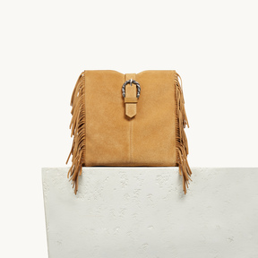 Maje M bag in suede with scalloped buckle
