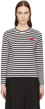 Comme des Garcons Black and White Long Sleeve Striped Heart Patch T-Shirt