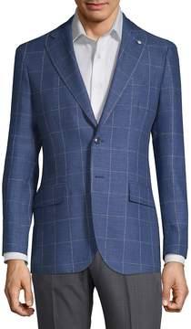 Lubiam Men's Windowpane Wool Sportcoat