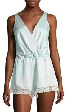 Flora Nikrooz Lace-Trimmed Sleeveless Satin Romper
