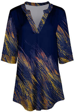 Azalea Navy & Yellow Abstract V-Neck Tunic - Women & Plus