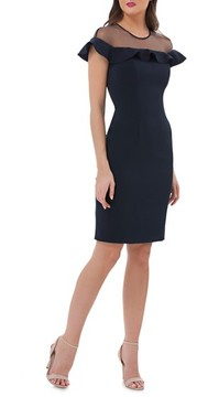 Carmen Marc Valvo Women's Illusion Yoke Ruffle Crepe Sheath Dress