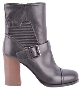 Car Shoe Women's Black Leather Ankle Boots.