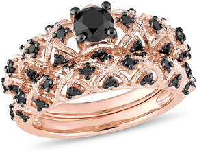 Black Diamond MODERN BRIDE Womens 1 CT. T.W. Color Enhanced 18K Gold Over Silver Bridal Set