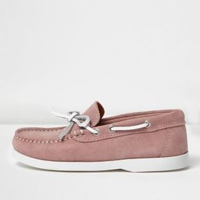 River Island Boys pink suede boat shoes