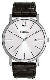Bulova Men's Stainless Steel Black Leather Strap Watch