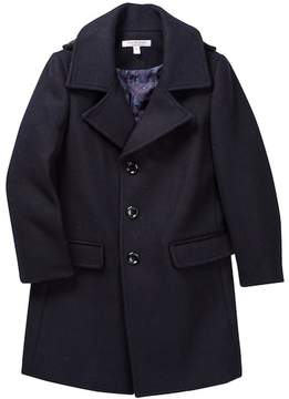 Isaac Mizrahi Single Breasted Wool Blend Overcoat (Toddler, Little Boys, & Big Boys)