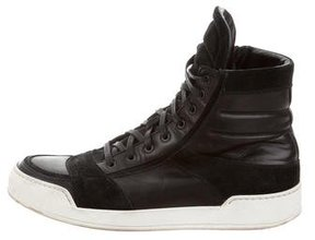 Balmain Leather & Suede High-Top Sneakers