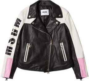 MSGM Black and White Logo Leather Biker Jacket