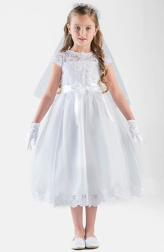 Us Angels Girl's Cap Sleeve Illusion Lace Dress