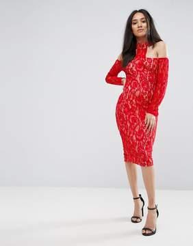 AX Paris Red T-Bar Lace Choker Midi Dress