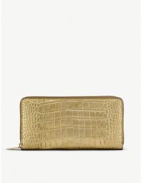 Smythson Mara crocodile-embossed metallic leather large zip purse